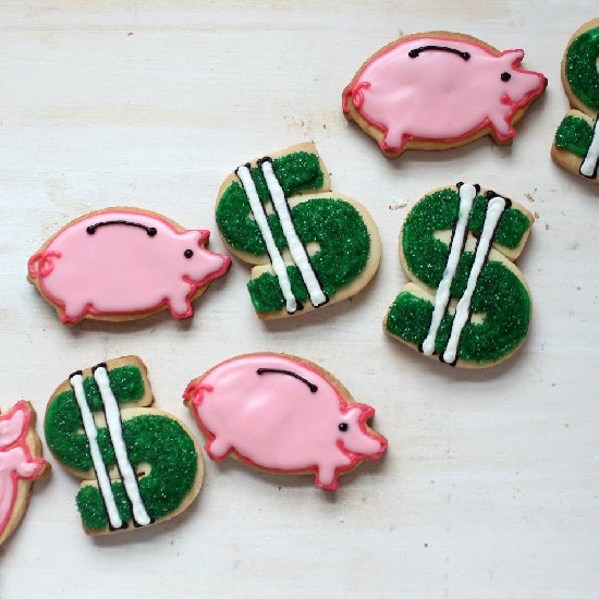 Money Cookies Dollar Signs And Piggy Banks