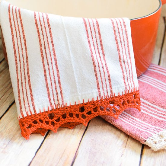 Crochet Edged Tea Towel Pattern Petals To Picots