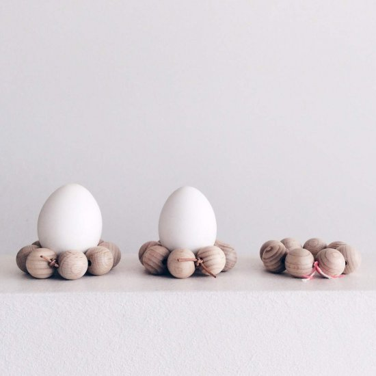 Egg Cups Made of Wooden Beads