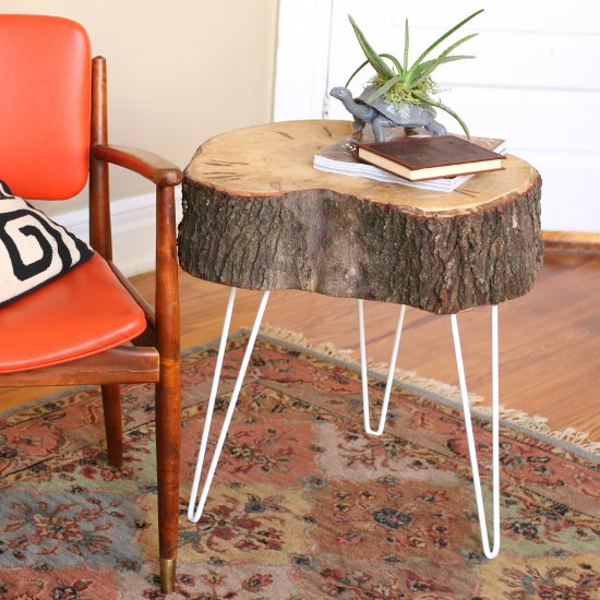 Fancy  DIY Rustic Modern Tree Stump Table