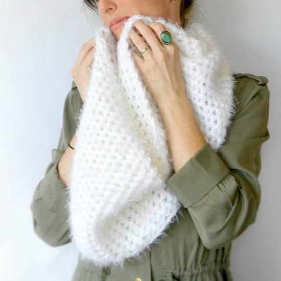 Powdered Sugar Crochet Scarf