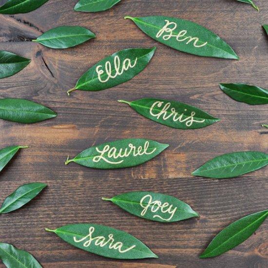Christmas Leaf Name.Diy Leaf Name Tags Craftgawker