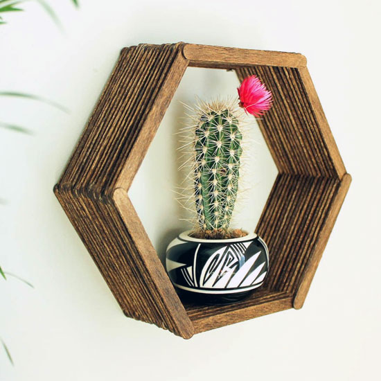 DIY Popsicle Stick Hexagon Shelf