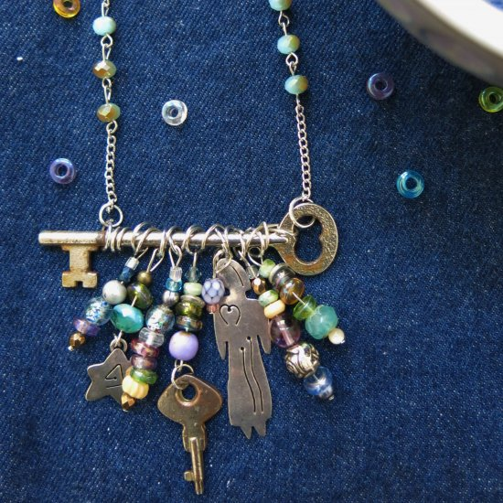Skeleton Key Necklace with Beads