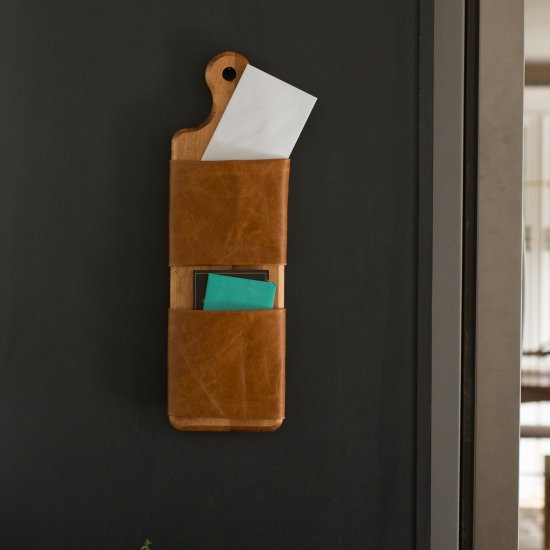 Leather and Wood Organizer