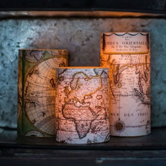 Antique Map Decoupaged Candles