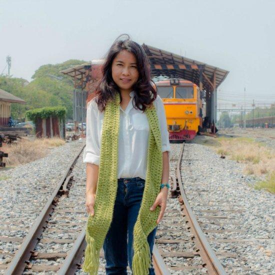 Long double crochet scarf
