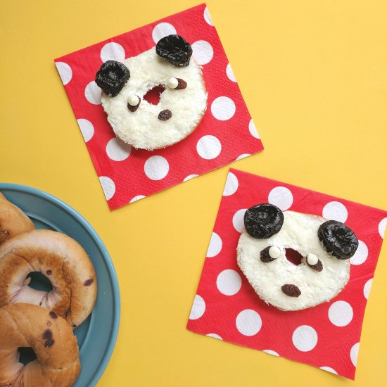 Coconut + Dried Fruit Panda Bagels