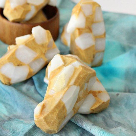 DIY Quartz + Gold Gemstone Soap