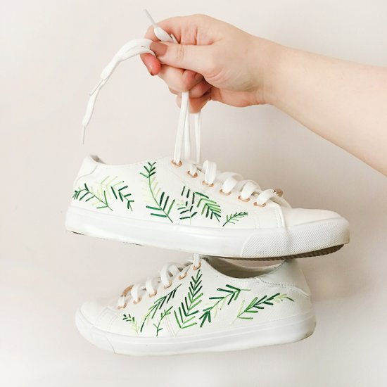 Palm Print Embroidered Trainers