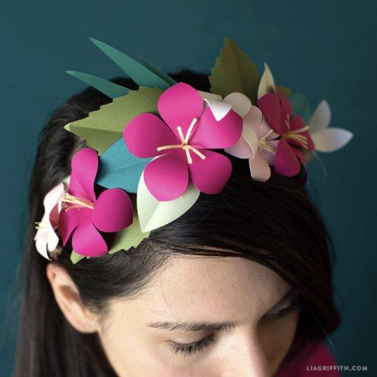 Tropical Paper Flower Head Wreath