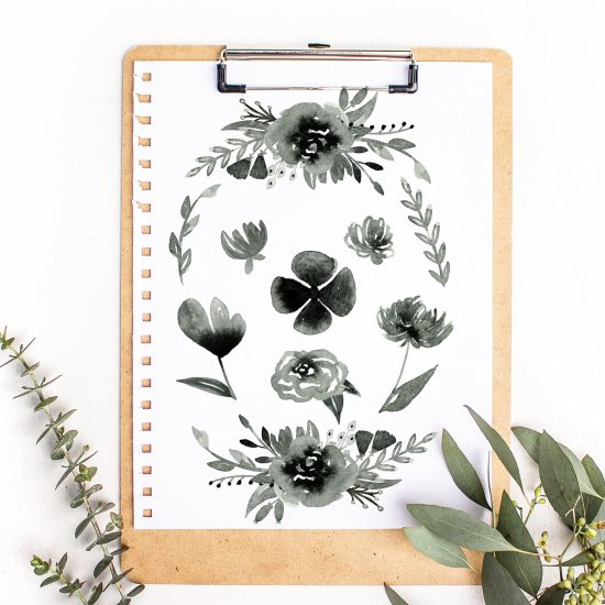Free Inky Floral Graphics