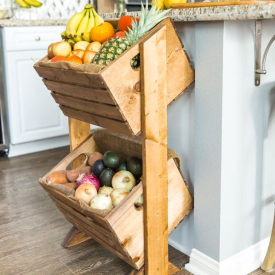 DIY Two-Tier Wood Produce Stand