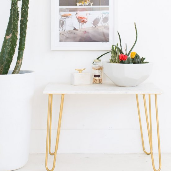 DIY Marble & Gold Accent Table