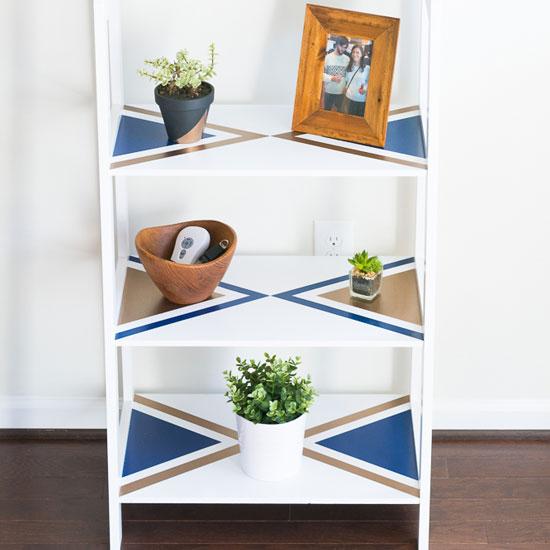Geometric Ladder Shelves Makeover