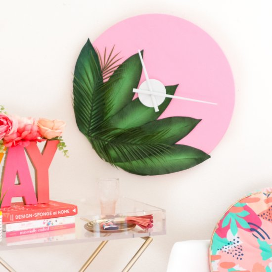 Pink and Green Wall Clock