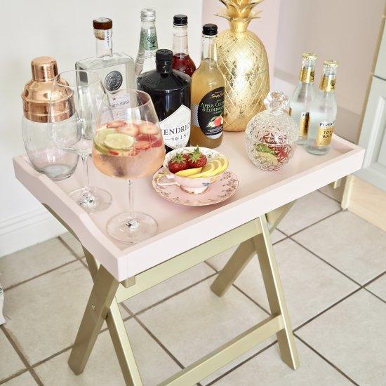 DIY mini bar using Ikea tray table
