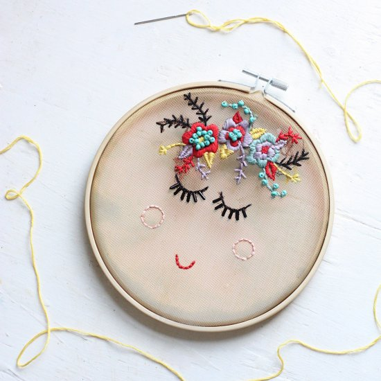 DIY Flower Face Embroidery