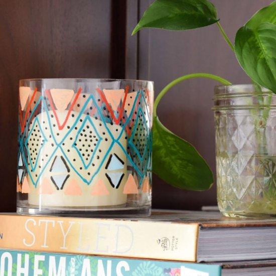 DIY Kilim Inspired Candle Holder