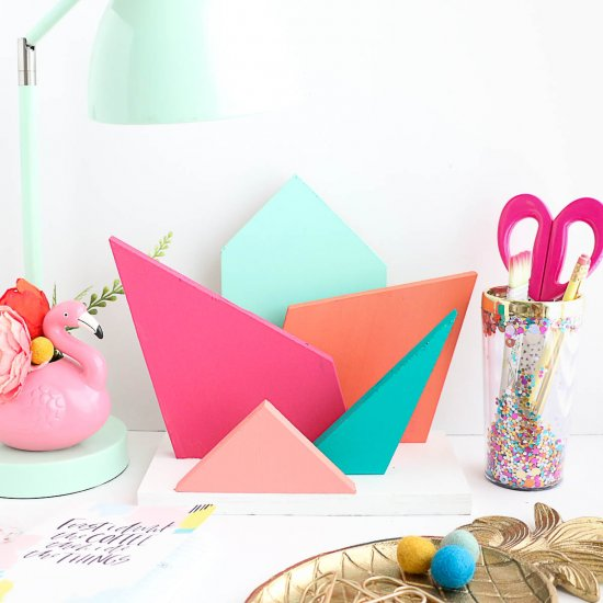 DIY Color Geometric Desk Organizer