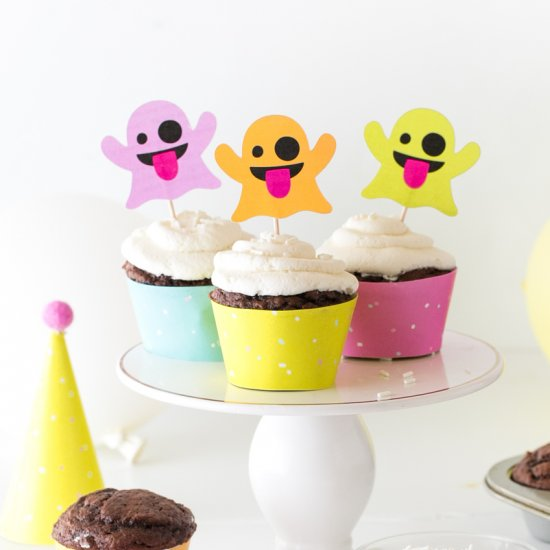 Ghost Halloween Cupcake Toppers
