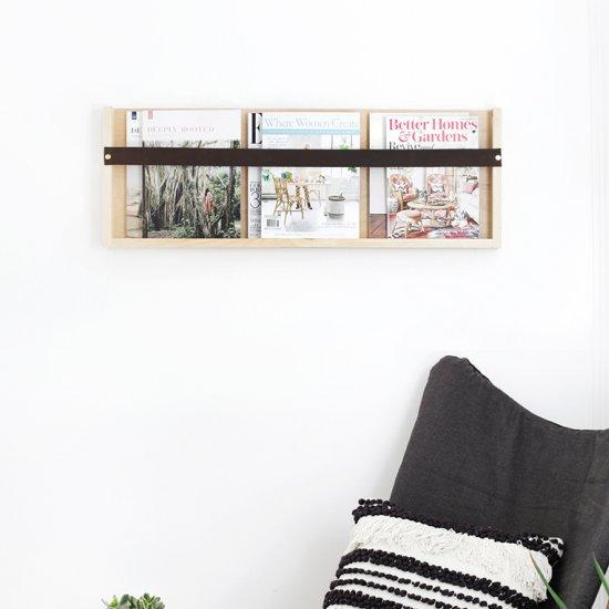 Plywood & Leather Magazine Rack