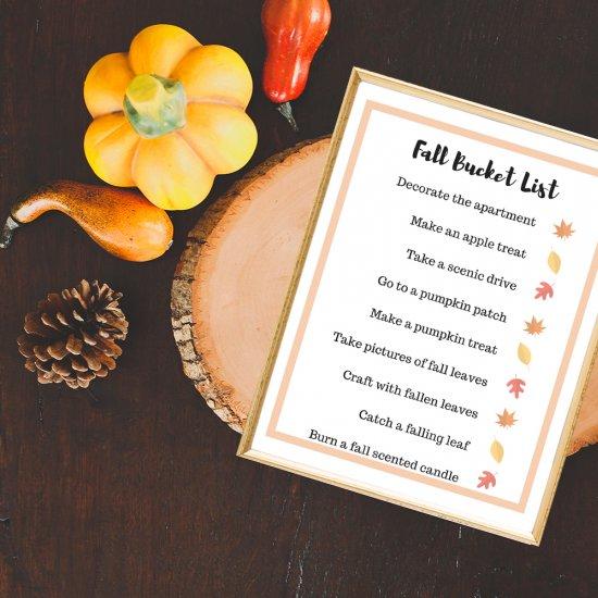 Family Fall Bucket List Printable