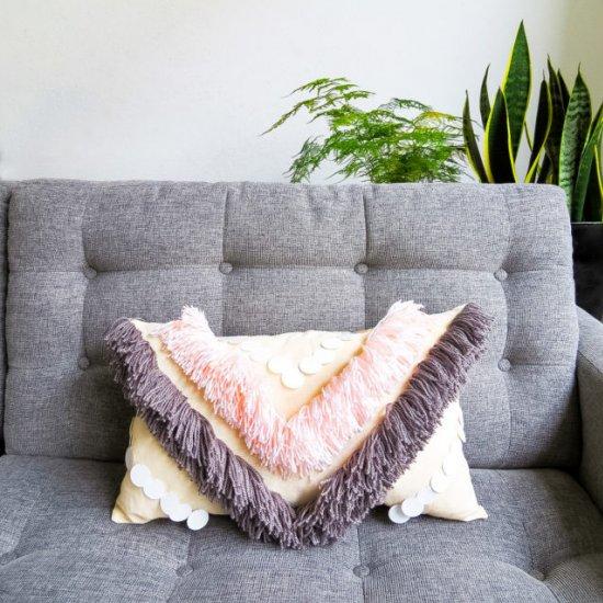 DIY Yarn Fringed Throw Pillow