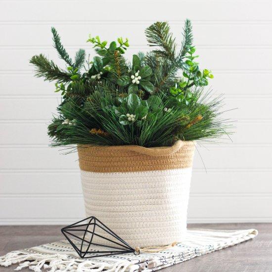 winter floral arrangement basket