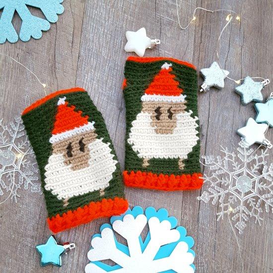 santa hat sheep fingerless gloves | craftgawker