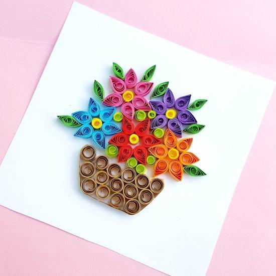 Paper Quilling Flower Basket Craft