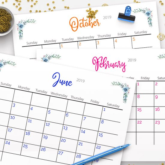 Free Printable 2019 Calendar Craftgawker