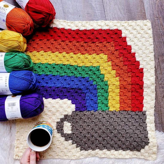 C2C Rainbow and Coffee Cup Square